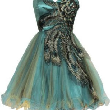 Metallic Peacock Embroidered Holiday Party Homecoming Prom Dress, Small, Turquoise