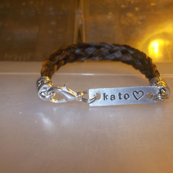 Horse hair bracelet name charm Woven braid jewelry by Equine Keepsakes with hand stamped name charm and heart