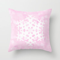 Snowflake Pink Ice Throw Pillow by Lisa Argyropoulos