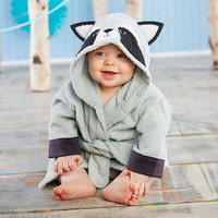 Baby Aspen BA14073RC Forest Friends Raccoon Hooded Spa Robe Personalization Available