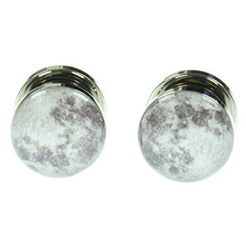 Screw Fit Steel Plugs with Moon Logo Fronts (00PR)