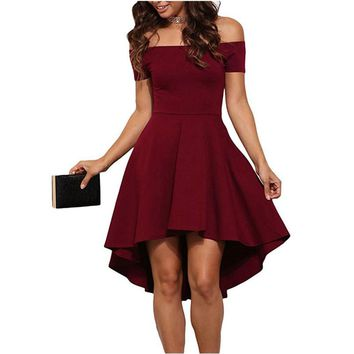 2017 Autumn Winter Women Elegant Cocktail Party Dresses Slash Neck Off Shoulder Skater Dress Formal High Low Dresses Vestidos