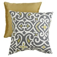 Decorative Damask Square Toss Pillow - Gray/ Yellow