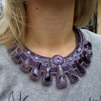 Bead Embroidery Collar Necklace Seed beaded necklace Bright colors Amethyst purple Swarovski Cooling effect