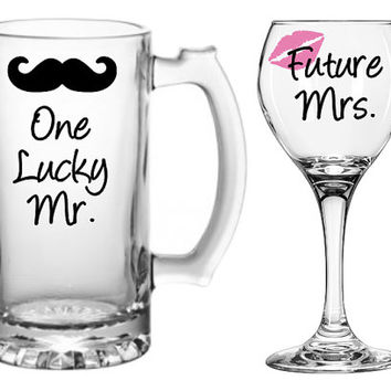 Engagement Gift, Bride and Groom Glasses, Wedding Gift, Lucky Mrs, One Lucky Mr, Mr and Mrs, Personalized, Groom Gift, Wine Glass, Beer Mug