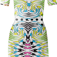 Bold Funky Colorful Trendy Mixed Pattern Summer Body Con Dress created by Pasion4Fashion | Print All Over Me