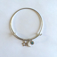 Dainty Silver Moon & Star Bangle *Alex and Ani Inspired*