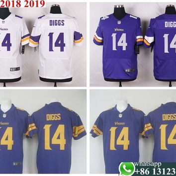 100% Stitiched,Minnesota  s,#14 Stefon Diggs Elite Purple and white Team Color Jersey