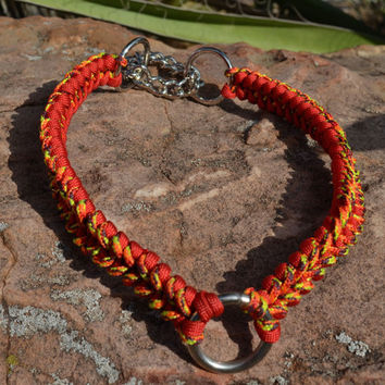 Martingale collar, orange and red paracord collar, 20 inch collar for large dog
