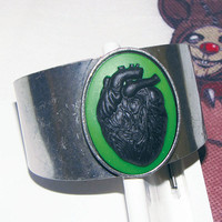 Anatomical Heart anatomy black heart cameo Cuff Bracelet adjustable- Black on Green