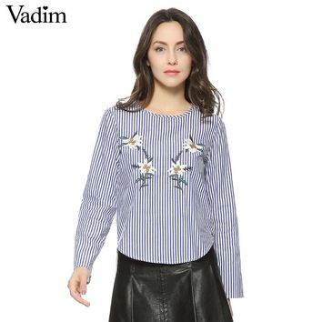 Women elegant floral embroidery full cotton striped shirt long sleeve o neck blouse female casual office wear tops blusas LT1319