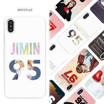 BINYEAE BTS Bangtan Number colorful Hard White Phone Case Cover Coque Shell for iPhone X 6 6S 7 8 Plus 5 5S SE 4 4S 5C