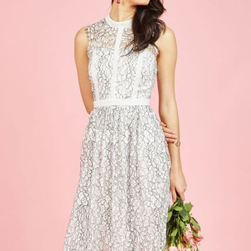 Ethereal Enlivening Midi Dress in White | Mod Retro Vintage Dresses | ModCloth.com