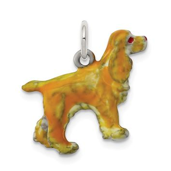 925 Sterling Silver Enameled Small Cocker Spaniel Charm and Pendant