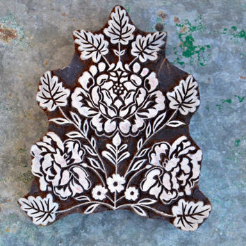 Blooming Roses, Traditional Indian henna carved wood block stamps flowers and leaves