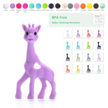 DCCKF4S Silicone Giraffe Teether Soft Baby Teething Toy BPA Free Giraffe pendant necklace Baby Food Grade Necklace Teething Hanging Toy