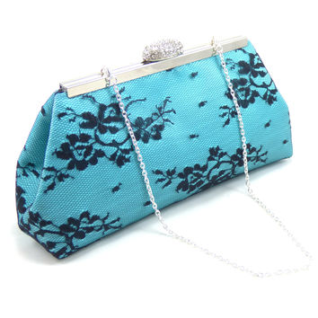 Aqua Blue and Black Wedding Clutch