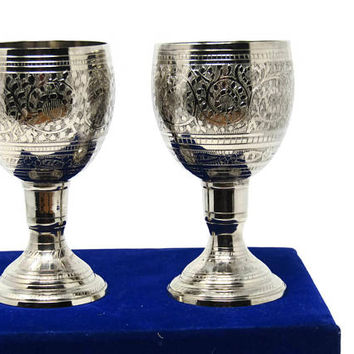 Vintage Set of 2 Silver Toned Wine Goblets - Etched Pattern Made in India with Original Blue Velvet Box - 1980s Toasting Goblets