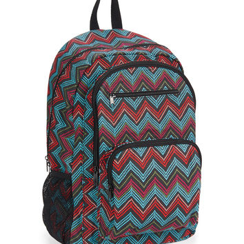 Pixelated Chevron Print Backpack
