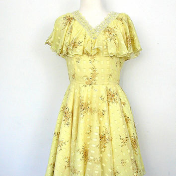 1960s Dress / 60s yellow dress / wedding dress / full skirt dress / sequin beaded dress / garden party dress  / medium