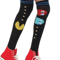 Pac Man Black Game Rave Thigh High Socks