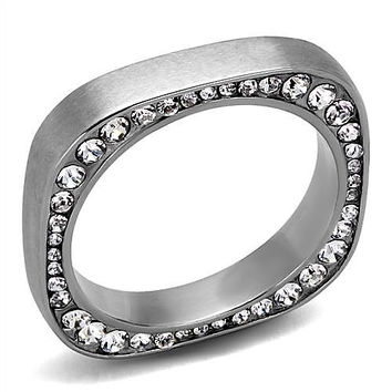 Tezza - Square Ring Band, with beautiful Crystals in High Polished Stainless Steel