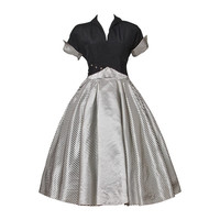 Vintage 1940s 40s Black + White Striped Taffeta Full Sweep Party Dress