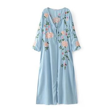 2017 Ethnic Embroidery Flower Sequins Slit Kimono Shirt Retro New Bandage Collar Cardigan Blouse Tops blusas chemise femme blusa