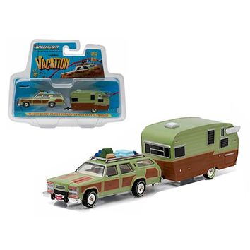 1979 Family Truckster Wagon Queen \National Lampoon\s Vacation\ (1983) with Shasta 15\ Airflyte Trailer 1-64 Diecast Model by Greenlight
