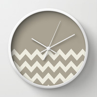 Chevron Colorblock Alabaster Blue Gray Wall Clock by Beautiful Homes