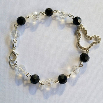 Mickey mouse black and clear crystal beads bracelet