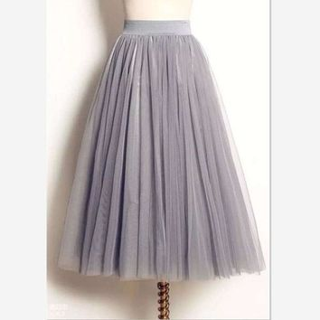 DKF4S women Puff Mesh Tulle Skirt White Faldas High Waist Pleated Maxi Long Tulle Skirts Plus Size 3 Layers With Liner