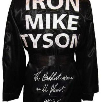 DCCKJNG Mike Tyson Signed Autographed 'The Baddest Man On The Planet' Iron Mike Tyson Boxing Robe (ASI COA)