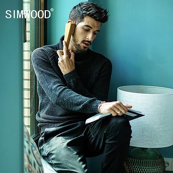 SIMWOOD 2017 Autumn Winter Sweater Men Pull Homme Slim Fit Turtleneck Brand Pullovers Black Knitted Sweater Plus Size MT017027