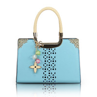 Elegant Candy Color Floral Cutout Handbag