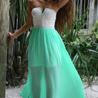 Siesta Key Sheer Mint Maxi Dress
