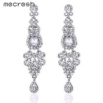 Mecresh Romantic 5 Colors Bridal Long Earrings with Crystals for Women Luxury Chandelier Wedding Jewelry Hot Selling EH162