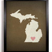 State Love Michigan Print (Pictured In Chocolate) Giclee, Art Print 8 x 10