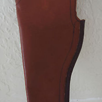 "Brown Leather Gun Holster Interior Leg Medium 3"" to 4"" Barrel"