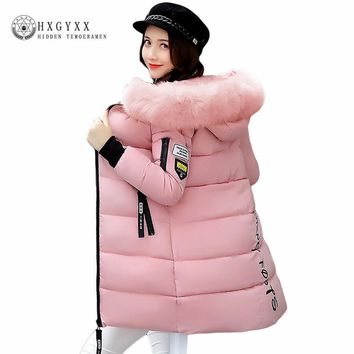 Warm Fur Fashion Hooded Quilted Coat Winter Jacket Woman 2017 Solid Color Zipper Down Cotton Parka Plus Size Slim Outwear O2