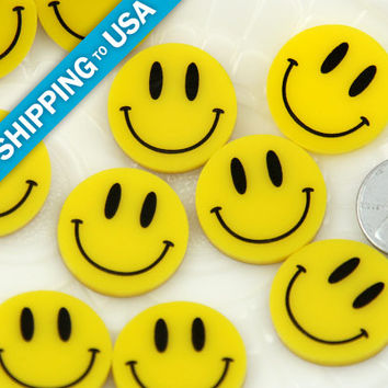 23mm Cute Happy Face Yellow Smiley Flatback Laser Cut Acrylic or Resin Cabochons - 5 pc set