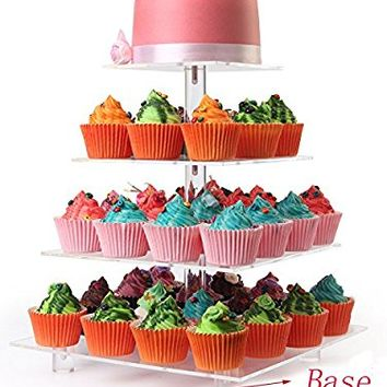 With Base,4 Tier Square Acrylic Wedding Clear Cupcake Stands, Dessert Display Hoder Stand, Wedding Cupcake Stand