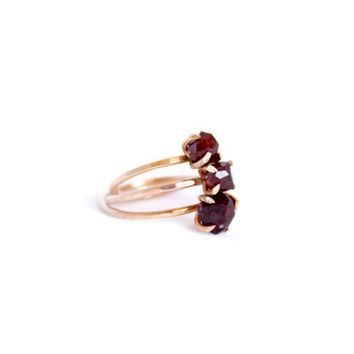 Garnet Ring - 14k Gold Fill or Sterling Silver - January Birthstone - Gemstone Ring - Natural Raw Garnet Jewelry - Stacking Ring - Thin Ring