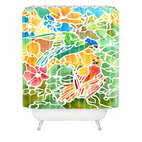 Rosie Brown Parakeets Stain Glass Shower Curtain