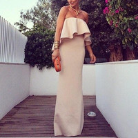 Fashion Casual Off Shoulder Long Dress = 1901159684