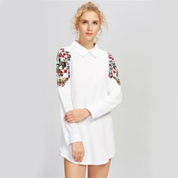 White Embroidery Shirt Dress
