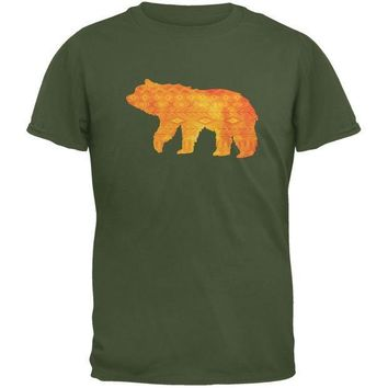 CREYCY8 Native American Spirit Bear Military Green Adult T-Shirt