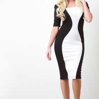 Mod Contrast Bodycon Midi Dress