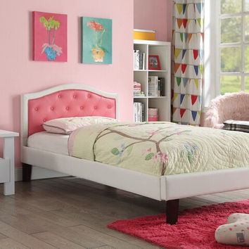 Acme 30790T Rheanna pink and white faux leather tufted headboard twin bed