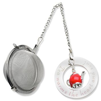 Harmony Tea Products Mesh Ball Infuser with Teapot Charm and Stainless Steel Disc